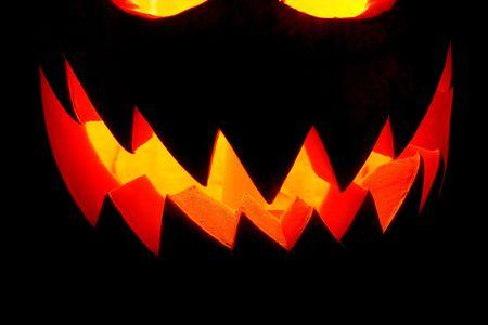 Jack-o-lantern, Halloween pumpkin glowing in the night Stock Photo - 597831