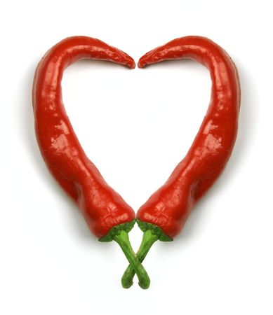 Hot heart made of red hot chilli peppers