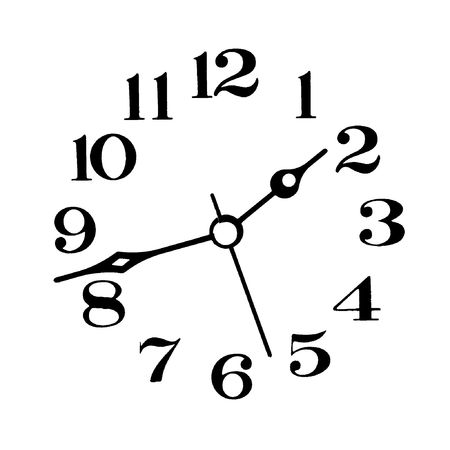 Clock-face and clock hands, black on white background.