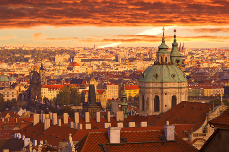 Beautiful sunset over Prague, old European city.