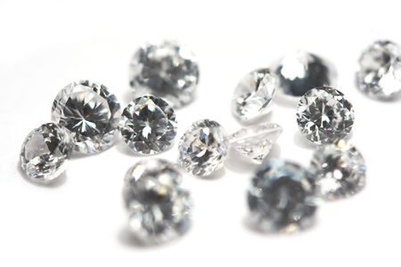 Group of little diamonds on a white background. Stock Photo