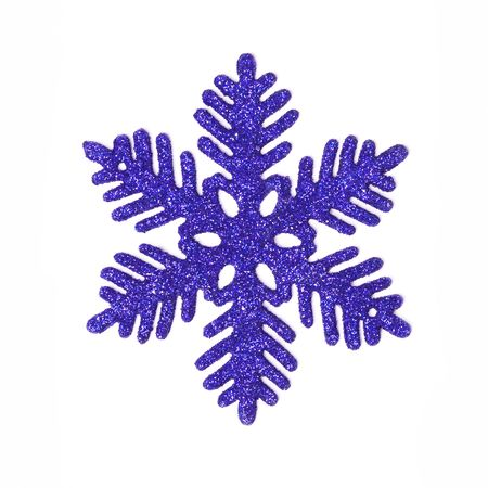 One dark blue glitter snowflake isolated on white.