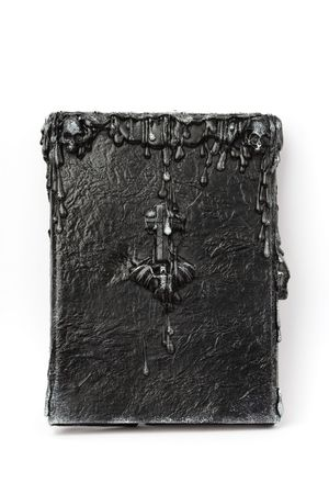 Handmade Book of Shadows (dark witchcraft spellbook) Stock Photo