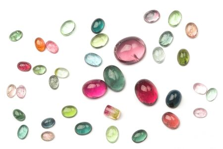 rubellite: Different color tourmaline cabochons - the most popular gem.