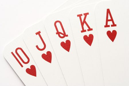 queen of hearts: Poker hand - royal flush on hearts, close-up.