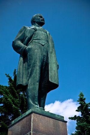 dictator: Old bronze statue of Lenin, famous Soviet Russian dictator. Stock Photo
