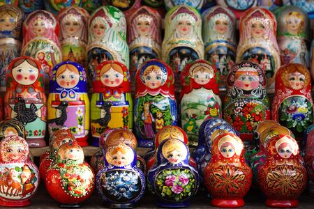matroshka: Traditional Russian nesting dolls - matroshka. Stock Photo