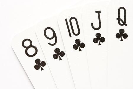 straight flush: Poker hand - straight flush on clubs. Stock Photo