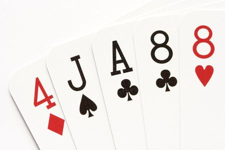 ace hearts: Poker hand - one pair on eights.