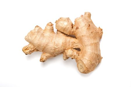 Fresh ginger root isolated on white.