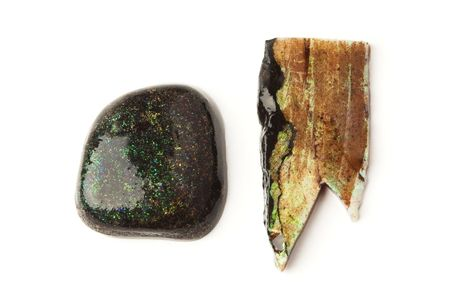 Two rough matrix opals from Australia, isolated on white. Stock Photo - 7924349