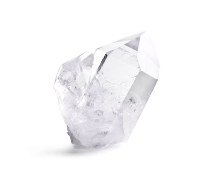 Big natural double quartz crystal isolated on white. Stock Photo