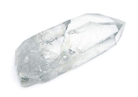 Huge natural quartz crystal isolated on white.