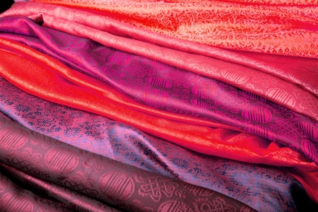 Red and purple silk fabric from India.