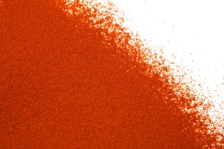 Sifted ground paprika on white, room for copy. photo