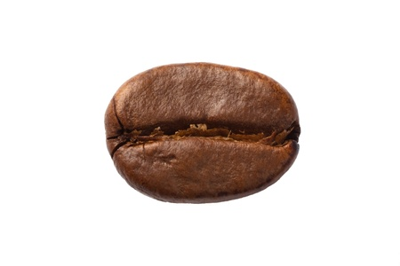 One coffee bean close-up, isolated on white. Stock Photo