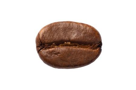 coffe bean: Primer plano de un grano de caf�, aislado en blanco.