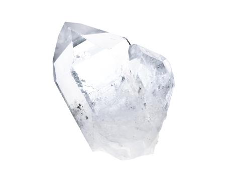 Grote natuurlijke dubbele roze kwarts kristal geïsoleerd op wit, met achtergrondverlichting.