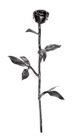 Hand forged iron rose on long stem, isolated on white. photo