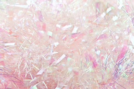 Pastel pink tinsel background, suitable for Christmas. Stock Photo