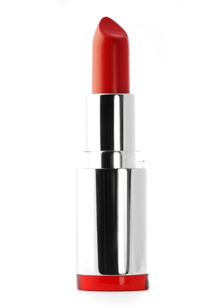 Open tube of red lipstick isolated on white. photo