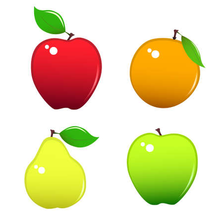 miscellaneous: Four miscellaneous fruits - apples, orange and pear.
