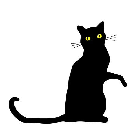 Black cat sitting with it's paw raised. Vector