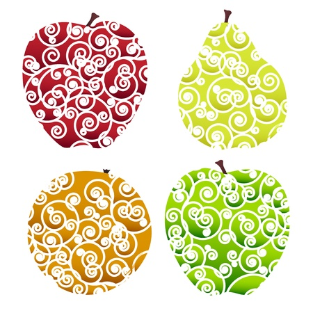 Four miscellaneous stylized ornate fruits - apples, orange and pear. Vector