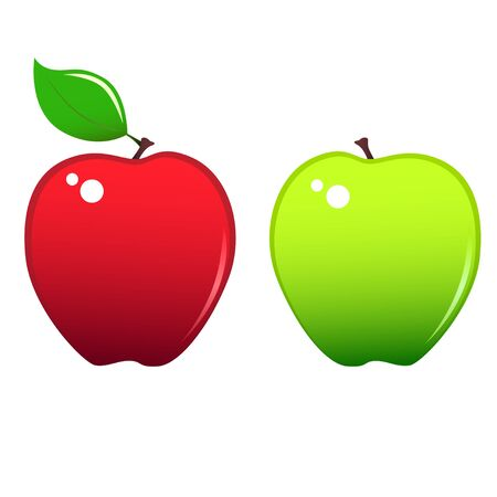granny smith apple: Two stylized apples icons, red and green.