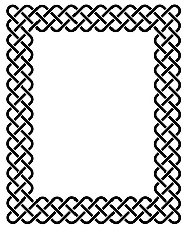 Traditional Celtic knot braided frame. Vector