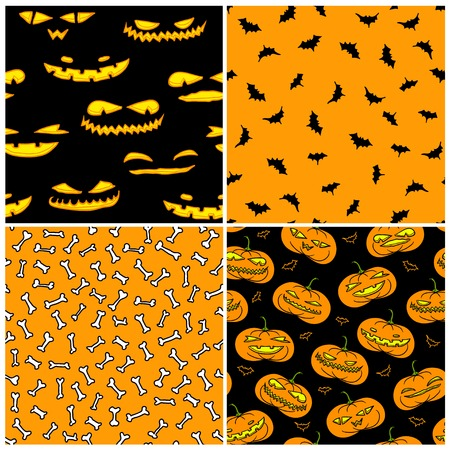 jack pack: Set of four Halloween seamless patterns in traditional black and orange colors
