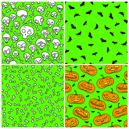 jack pack: Set of four Halloween seamless patterns over acid green  Illustration