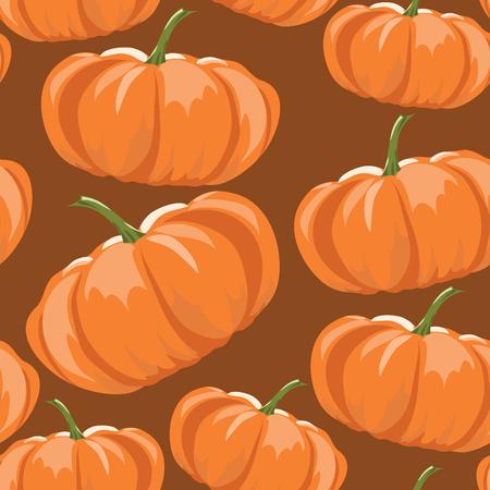 Orange Thanksgiving pumpkins seamless pattern over brown backgrounds  Vector