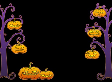 Black Halloween horizontal swirly tree frame with pumpkins, room for text  Vector