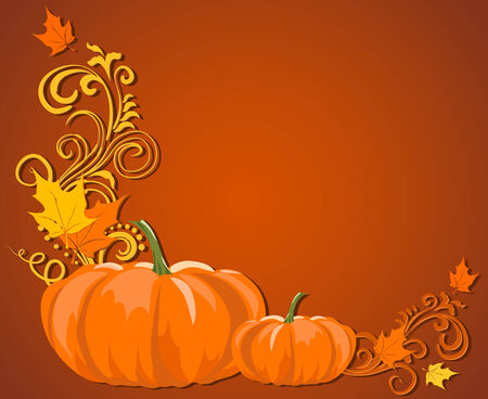 background brown: Brown autumn frame with pumpkins and leaves and room for text