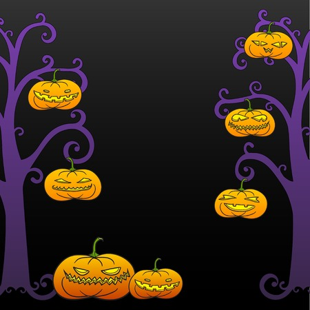 Black Halloween swirly tree frame with pumpkins, room for text. Vector