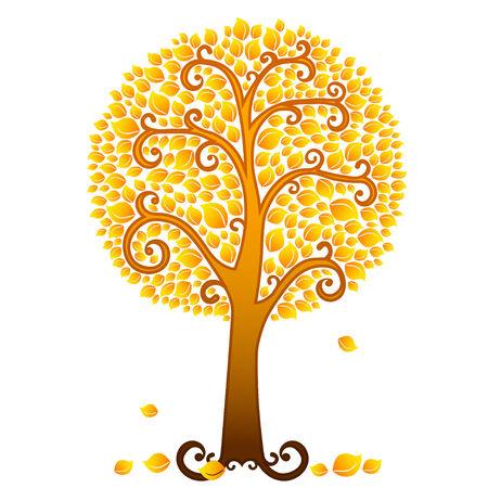 arbre automne: Vector tourbillonnant oranger d'automne couvert de feuilles.