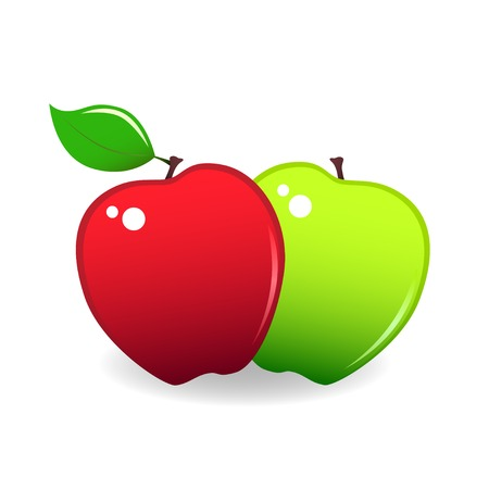 granny smith apple: Two stylized apples, red and green, isolated on white.