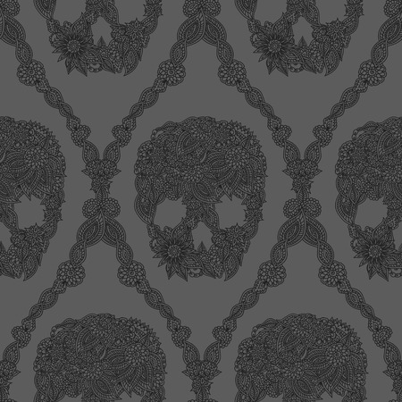 Doodle floral skulls damask seamless pattern in gray. Vector