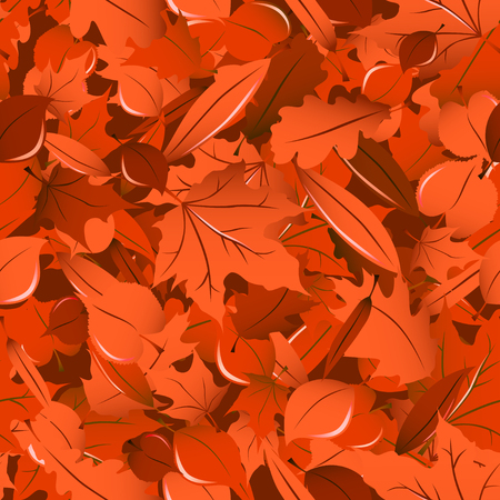miscellaneous: Miscellaneous rich orange fall leaves seamless pattern.
