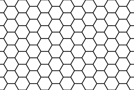 Abstract black and white honeycomb seamless pattern. Ilustração