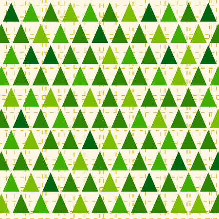 fur trees: Abstract stylized Christmas pattern with green tringular fur trees.