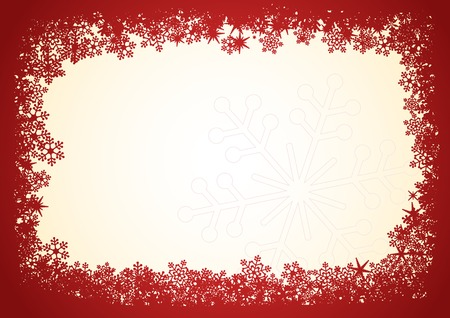 Red snowflakes Christmas frame over beige background. Vettoriali