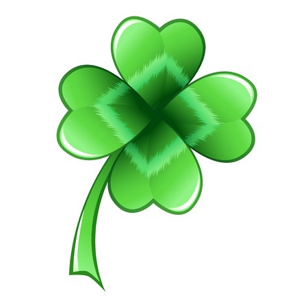 Four-leaf clover leaf, symbol of good luck. Vector