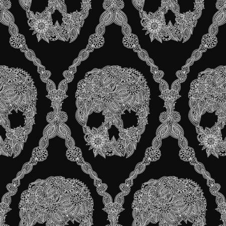 Doodle floral skulls damask seamless pattern in white over black. Vector