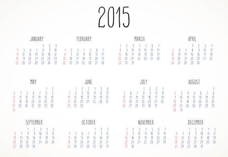 handwritten: Simple hand-written calendar layout for year 2015 over white.