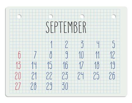 scheduler: Hand written September 2015  calendar over white school paper sheet.