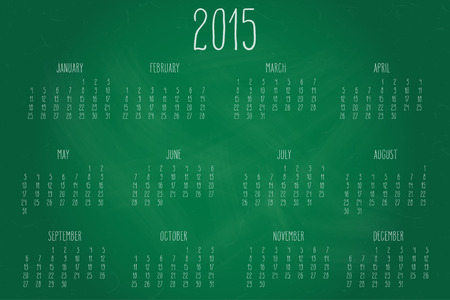 Hand written calendar for the year 2015 over chalkboard backgrounds.