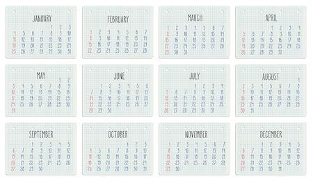 scheduler: Hand written monthly calendar of year 2015 over white school paper sheet.