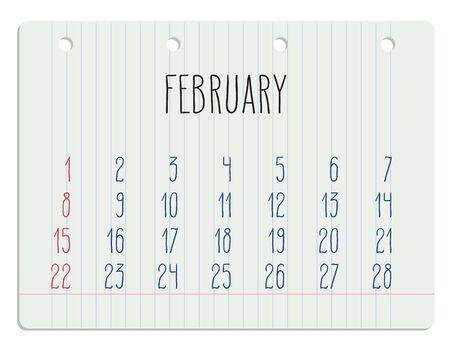 Hand written February 2015 calendar over white school paper sheet.